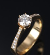 Diamond solitaire ring, 18 kt. gold, total approx.  0.67 ct.