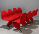 Verner Panton, chairs, model 'C', System 1-2-3, wool (8)