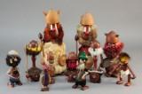 Samling teakfigurer (11)