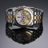 Tudor 'Monarch Chronograph'. Herreur i guld og stål med hvid skive, ca. 1990'erne
