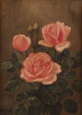 E.C. Ulnitz, opstilling med roser, olie på lærred