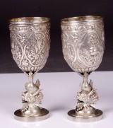 Pokaler med drakar, silver, Kina 1800-talets senare del, ett par
