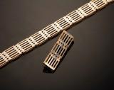 Vintage armbånd og broche i 14 kt tofarvet guld (2)