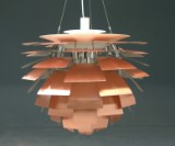 Poul Henningsen. PH Artichoke, copper. Ø 60 with Design-ID numbered certificate. Early model with handle