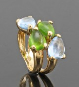 18kt peridot and topaz ring