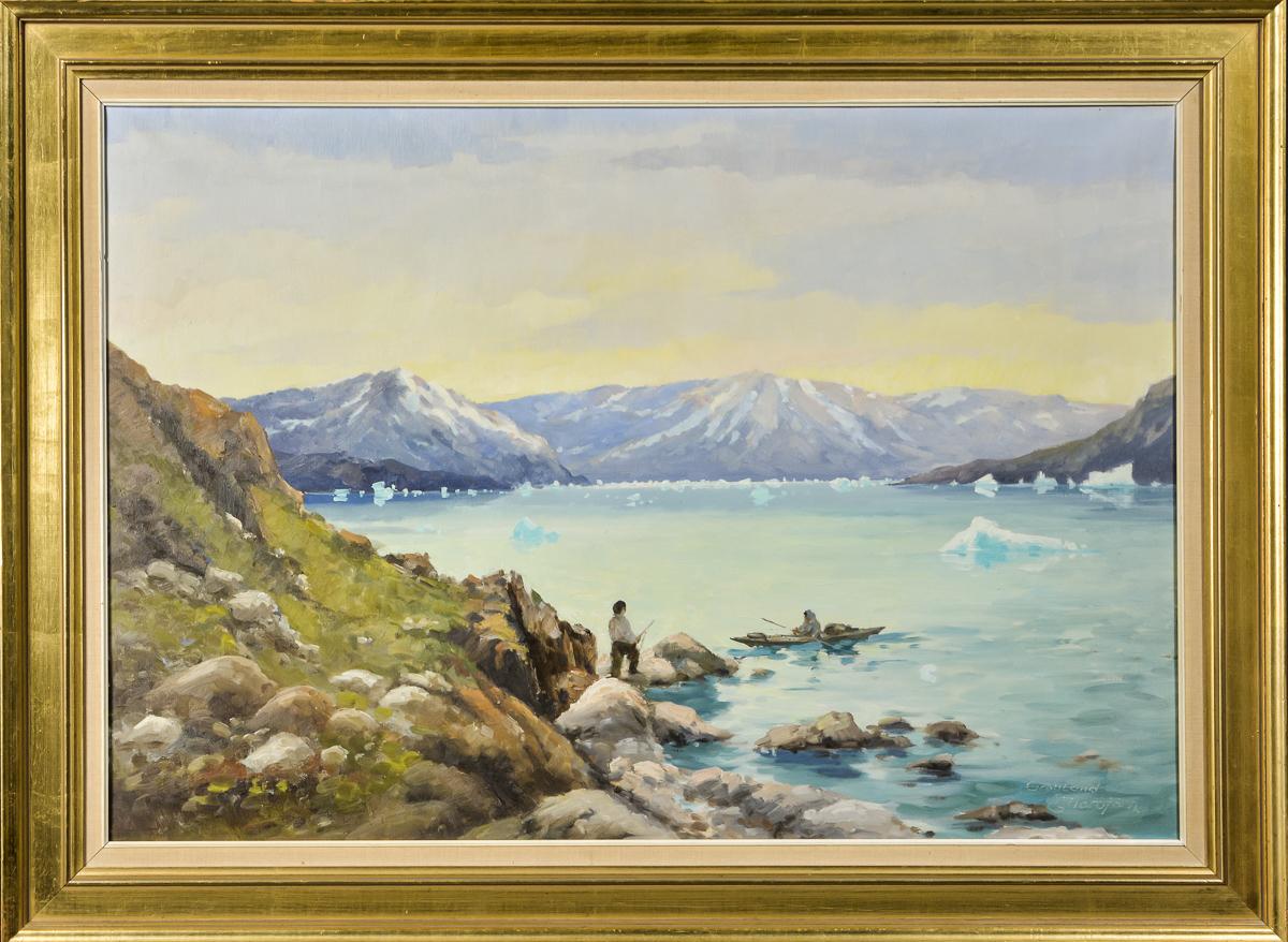 Evelyn Thorbjørn, olie på lærred, parti fra Grønland - Parti fra Grønland af Evelyn Thorbjørn (1911-1985), olie på lærred, sign. E. Evelyn, 67x97 cm. (85x115 cm)