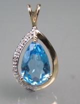 Topas- og diamantvedhæng