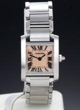 Cartier 'Tank Francaise'. Dameur i stål med rosa perlemorsskive, 2000'erne