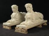 Par sandstensfigurer 'Liggende sphinx' (2)