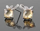 Citrine and diamond earrings, 14kt. white gold (2).