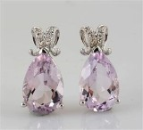 Diamond and amethyst earrings in gold approx. 0.05ct (2)