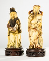 Two figures / sculptures / monk figures, ivory, China (2)