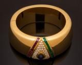Armreif Gold 750er mit Farbsteinen und Brillanten, Fa. Zerrener Pforzheim