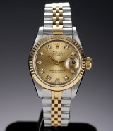 Rolex 'Datejust' ladies' watch, 18 kt. gold and steel, diamonds on dial, c. 1989