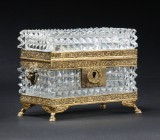 Sugar box, faceted glass, 19th century