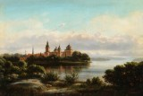 Ferdinand Richardt. Landscape with Gripsholm Castle in Sweden