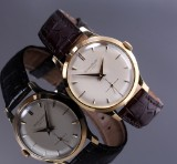 Jaeger LeCoultre. Vintage men's watch, 18 kt. gold with pale dial, 1950s
