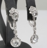 Earrings in platina with rose and old cut diamonds  1.25 ct