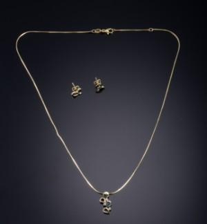 3d62491b347 Halssmykke samt ørestikker af guld og sølv med diamant Aagaard3