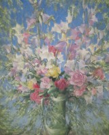 Walter von Wacus, Wasserpastell auf Papier, 'Blumen in der Sonne'