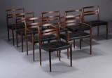 Erik Wørtz. Rosewood dining chairs (8)
