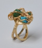 Ring af 14 kt. guld med jade og turkis