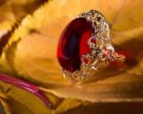 Bernsteinring / Ring, Rot, 585er Gold, 6,07 g