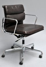 Charles Eames. Soft Pad office chair, model EA-217, brown leather