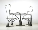 Organic dining table + chairs, solid bronze and cast glass (5)