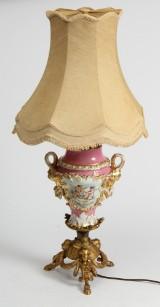 Stor prydlampe/vase af porcelæn og messing