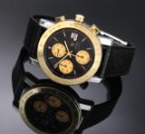 Girard Perregaux 'GP 7000'. Herrechronograf i 18 kt. guld og stål med sort skive, 1990'erne