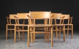 Børge Mogensen. Six armchairs in oak (6)
