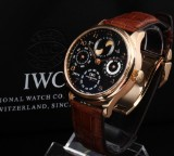 IWC 'Portuguese Perpetual Calendar'. Men's watch, 18 kt. rosé gold with black dial