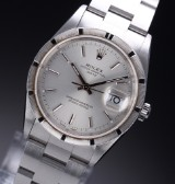 Rolex 'Date'. Men's watch, steel, with silver-coloured dial with date - certificate 2001