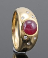 Diamond and ruby ring in 18kt approx. 0.10ct