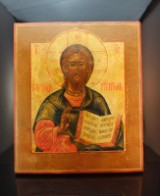 A Russian icon, Jesus Pantocrator, egg tempera on wood, 19th century