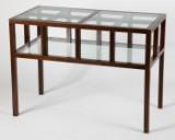 Holztisch / Verkaufstisch, Holz / Glas