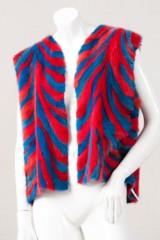 Weste Nerz, blau und rot eingefärbt, Gr. 40