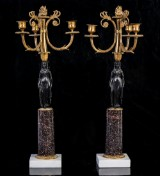 Candelabra, bronze and porphyry, Late Gustavian, c. year 1800 (2)