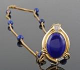 Halskæde i 18kt med lapis lazuli og diamanter approx.0.10ct