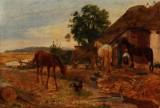 Johan Thomas Lundbye. 'Scene ved en Bondegaard. Føllet nærmer sig ængstelig Gaardhanen'. June 1847, study