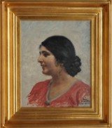 Paul Fischer. Portrait of woman with dark hair. Oil on canvas