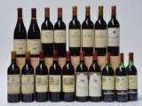 En samling rødvine, bl.a. Clos-de-Vougeot, Ch. Talbot og Ch. Duhart-Milon. (18)