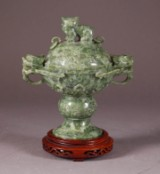 Incense vessel, spackled green jade