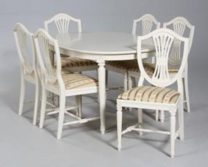 Lauritz.com - Møbler - Spisebord med stole, gustaviansk stil (9) - DK ...