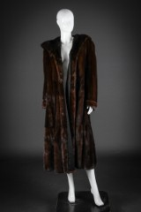 Brown mink coat with hood, size 40-42