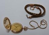 Herrelommeur af 14 kt. guld med doublékæde og hårkæde