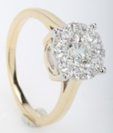 Rosette ring with diamonds from FHP DeLuxe, 14 kt gold, approx. 1.32 ct.