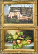 Ubekendt Kunstner, olie på lærred, opstilling med blomster / modelstudie (2)