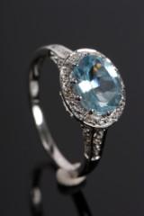 Diamant samt Topaz ring, 9 kt. rhodineret guld, ca.0.09 ct.